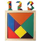 #9: FunBlast Tangram 7 Piece Color Wood Puzzle Brain Teaser Jigsaw Intelligent Toy