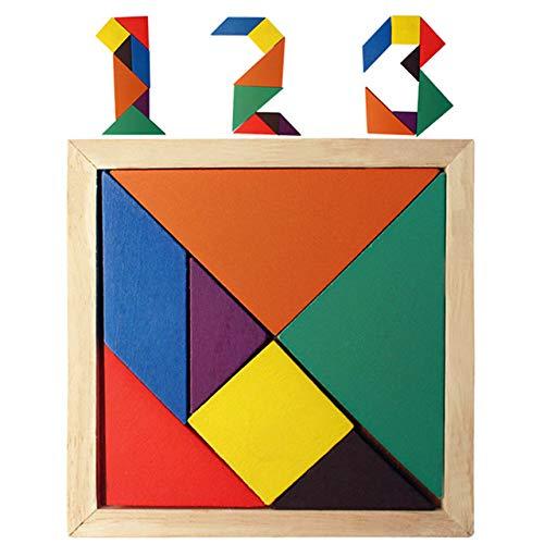 FunBlast Tangram 7 Piece Color Wood Puzzle Brain Teaser Jigsaw Intelligent Toy