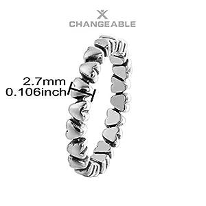 CHANGEABLE Anelli da Donna Argento Sterling 925 Misura anello 12 - cuori fila