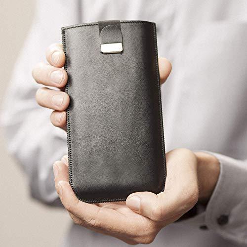 Hülle Tasche Etui Cover Case Leder personalisiert durch Prägung mit ihrem Namen, Monogramm, für BlackBerry KEY2 LE Motion KEYone DTEK60 DTEK50 Priv Porsche Design P9983 Graphite Leap