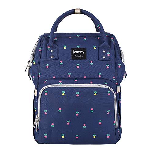 BAMNY Wickelrucksack Wickeltasche mit Wickelunterlage und 2 Kinderwagen Haken, Multifunktional Babytasche aus wasserabweisendem Oxford mit großer Kapazität Reiserucksack für Unterwegs