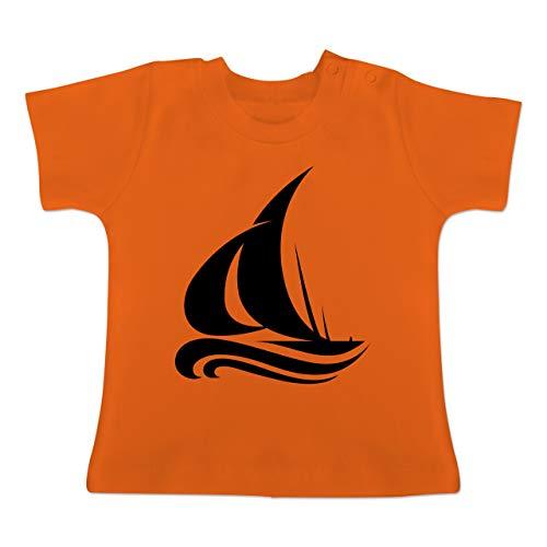 Fahrzeuge Baby - Segelboot Wellen - 1-3 Monate - Orange - BZ02 - Baby T-Shirt Kurzarm
