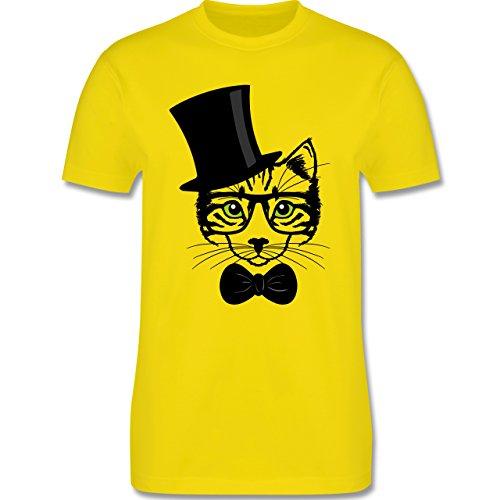 Katzen - Katze Hipster - Herren Premium T-Shirt Lemon Gelb