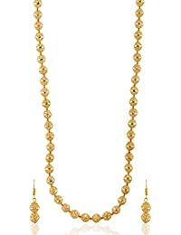 Reeti Fashions - Golden Pearl And Brass Base Long Round Necklace Set For Women (RF17_10F_5)