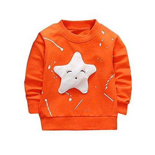 ❤️Kobay Junge Mädchen Baby Outfits Kleidung InfantStar Gedruckte Baumwolle Lange Ärmel T-Shirt (90 / 18Monat, Orange) -