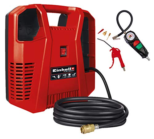 Einhell TH-AC 190 Kit Compressore, 1,1 kW, Potenza: 190 l/min, 8 Bar, 1 Cilindro, incl. Accessori, Senza Olio, 4020536
