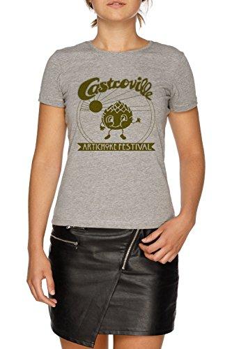 The original castroville artichoke festival - dustins shirt in stranger things! maglietta t-shirt grigio donna dimensioni s | women's grey t-shirt size s