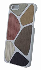 Covers4it ™ New Hard case with wood effect - iPhone 5 hard silicone case with multi-coloured wood effect (white)
