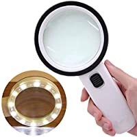 Extra Large Handheld Strong Magnifying Glass with 12 LED and UV Light, 30X Best Jumbo Size Illuminated Magnifier for Reading,Inspection,Hobbies,Macular Degeneration and Currency Detecting (White)