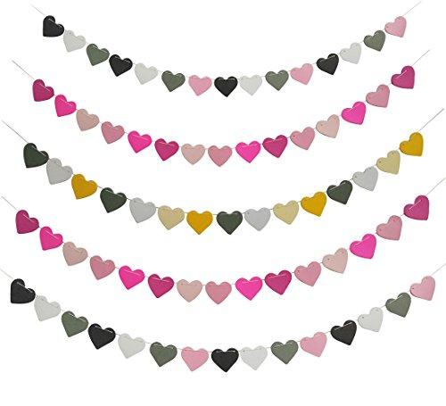Deko Banner Hochzeit Valentinstag Girlande Bunt International Deko-Herzen Candy String Hochzeit Girlande Banner Türvorhang Fahne Dekoration ca. 1M Romantisch Süß (Valentinstag Girlande)