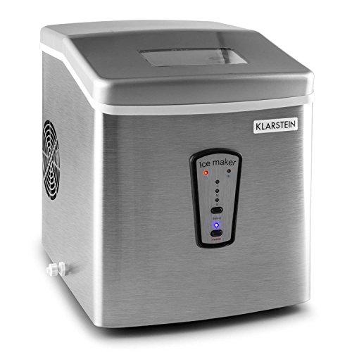 Klarstein Powericer • Eismaschine • Eiswürfelmaschine • Eiswürfelbereiter • 15 kg / 24 h • 180 Watt • 3 Würfelgrößen • Zubereitung in 6-15 min • 2 Liter Wassertank • Edelstahl • silber