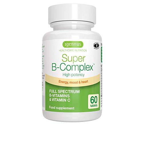 Igennus Super B-Complex - Complejo de vitaminas B metiladas con folato, Vegano, 60 comprimidos