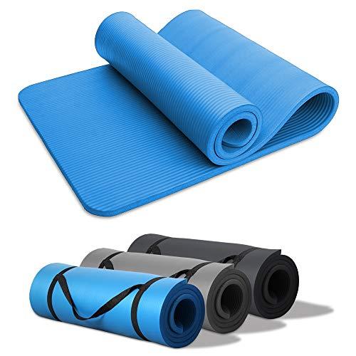 Hengda Esterilla Yoga Esterilla Fitness de Ejercicio Extra de 15 mm, 190 x 60 cm Alfombra de Yoga Plegable fácil Llevar Antideslizante para Yoga, Pilates,Gimnasio Azul Cielo