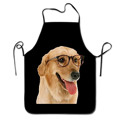dfhdshsd Kitchen Aprons Dog Golden Retriever Cute Aprons Kitchen Supplies for Cooking Adult Aprons Cool -