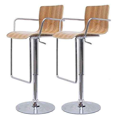 WESTHOME 2er Set Design Barhocker A40 Walnuss Drehstuhl Hocker Stuhl Lounge Bar Hocker (Stuhl Hocker Bar)