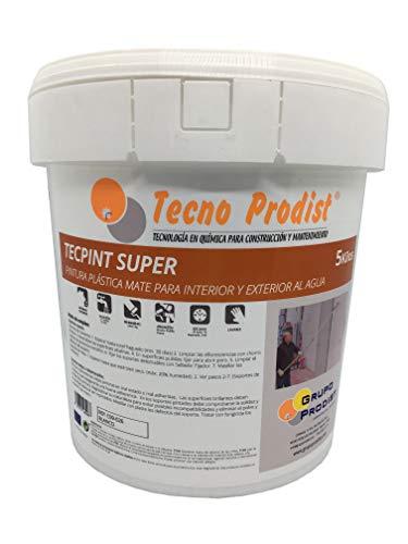 TECPINT SUPER DE TECNO PRODIST - PINTURA PARA EXTERIOR E INTERIOR AL AGUA - BUENA CALIDAD - LAVABLE - ENVASE 5 KG (BLANCA)