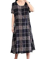 GNYD-Vestidos Fiesta Mujer Verano 2019 Moda Casual O-Cuello De Manga Corta A Cuadros Suelto Estampado