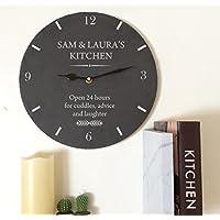 Personalised Kitchen Slate Clock, Personalised Slate Wall Clock, 30cm x 30cm Slate Clock