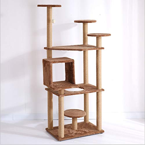 Kratzbaum Katze springen Plattform Katze klettern Regal Katzennest Katzenkratzbrett Katzenkratzspalte große Luxus Holz Katzenspielzeug Heimtierbedarf, einfache Montage, 60 * 40 * 157 cm -
