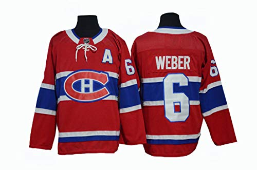 Gmjay Shea Weber # 6 Hockey Trikot Montreal Canadiens Hockey Rot Genähte Buchstaben Zahlen NHL Eishockey Trainings Trikot,red,XXL