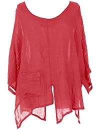 df033293cd3792 TEXTURE Ladies Womens Italian Lagenlook V Cutout Hem Batwing Linen Tunic  Top Blouse One Size Plus