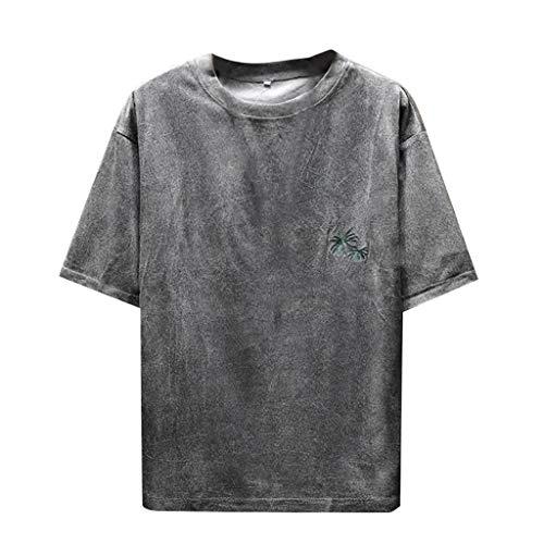 Eaylis Herren T-Shirt Tops Einfarbiges Hemd Mit Kurzen ÄRmeln Und NäHten, Oberteil Im Chinesischen Stil, Mikrogeschnitzter Kokosnussdruck,