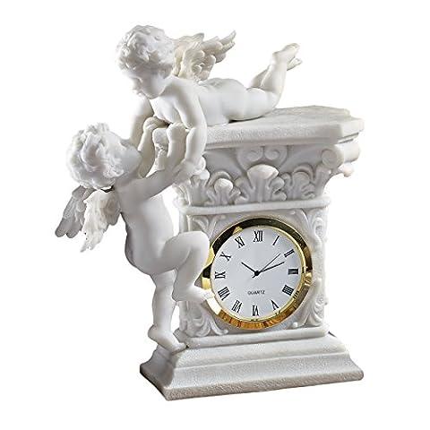 Design Toscano WU74349 Horloge de bureau représentant des chérubins jumeaux Blanc 6,5 x 14 x 16,5 cm