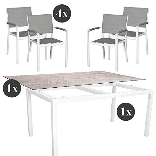 Gartenmöbel-Set - 4x Stern Stapelsessel Lola mit Stern Tisch 160x90 cm Aluminium weiß und Silverstar 2.0 in Sand Aussteller