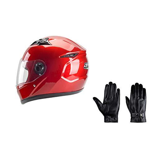 Preisvergleich Produktbild GZZ Motorradhelm Integralhelm - Unisex-Fahrradhelm + Touchscreen Verdickungshandschuhe Für Den Außenbereich Elektrische Motorradhelm Männlich Rot Batterie Fahrradhelm Weibliche Halbe Helm Vollgesicht