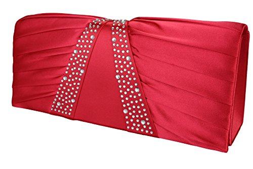 Elegante borsa da donna / Clutch / Borsa da sposa / Borsetta da sera con strass champagne, rosa, rosato, rosso, blu royal, nero, argento o bianco Rosso