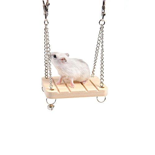 Lustige Fliegende Schweine (Hölzerne selbst gemachte Hamster Toys, natürliche Tunnel Tube Cage & Holz Gangplank stehen Plattform & Hamster Schaukel mit Glocke für kleine Tier Hamster Chipmunks Papagei Spielzeug (3er Pack))