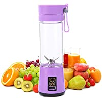 Rechargeable Juicer Cup, Portable Blender 400ml Fruit Mixing Machine with Six Blades & USB Charger Cable,Purple