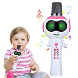 Mbuynow Microfono wireless per bambini, Bluetooth Karaoke Machine con altoparlante per iPhone, Android o Smartphone, Palmare portatile karaoke Mic Home Party Natale compleanno, Rosa