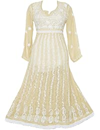 Lucknowi Chikankaari Skin Color Frock With Aari Machine Hand Embroidery With Self White Thread Crafted By INDIAN...