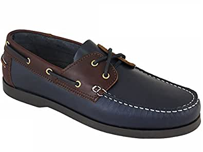 Beppi Men's Superb Quality Portuguese Made Leather Deck Shoes Navy/Brown UK 5