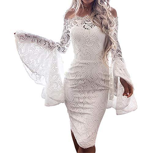 Linkay Kleid Damen Kurz Spitzenaufflackern Rock Sommer Schnüren Sie Sich Mantel Kleider Mode 2019 (Weiß, Medium) -