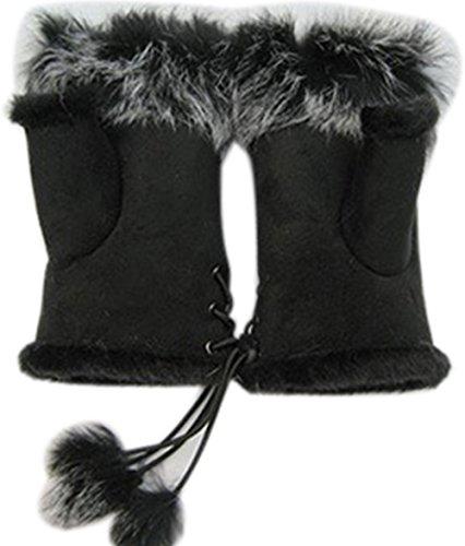 Frauen Handgelenk Fingerlose Handschuhe Warme Winter Faux Kaninchenfell (Kostüm Bulk Weiße Handschuhe)