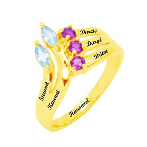 Yanday Personalisierte Family Promise Rings 5 Name und simulierte Birthstones für Mama Geschenk(Gold 56 (17.8))