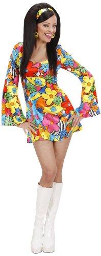 Widmann 73953 - Mini-Kleid Hippie Flowers mit Stirnband, Gröߟe L