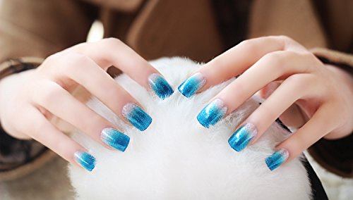 Künstliche Fingernägel False Nail Tips Fake Nails, French Style Hellblau - vivi33 Nail Sticker Tattoo - FashionLife