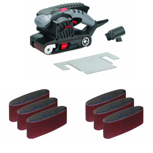 Skil 1215aa levigatrice a nastro, nero/antracite più set 3 nastri abrasivi, grana 60 più set 3 nastri abrasivi, grana 100