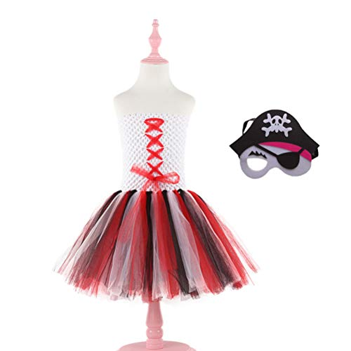 Amosfun Mädchen Piraten Tutu Kleid Piraten Kostüm Rollenspiel Set Gaze Prinzessin Rock Pirat Cosplay Kostüme Zubehör für Halloween Maskerade Party 5-6Y (Spiele Für Kleinkind-halloween-party)