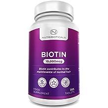 Biotin Haarwuchs-Ergänzungsmittel 365 Tabletten (Versorgung für ein ganzes Jahr) Biotin 10.000mcg von Nutribioticals