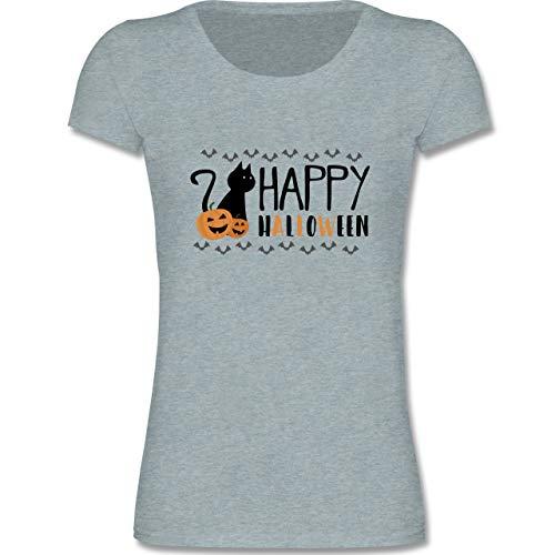Sprüche Kind - Happy Halloween - 122-128 (7-8 Jahre) - Blau/Grau meliert - F288K - Mädchen T-Shirt