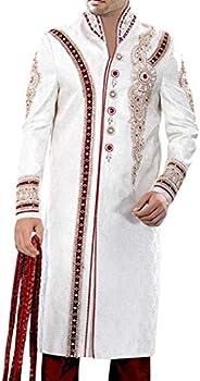 INMONARCH MensSherwani Maroon Blazed White Sherwani ForMen Designer SH0338