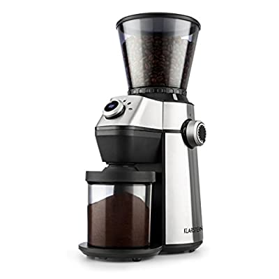 Klarstein Trieste - Coffee Grinder, Conical Grinder, 150W, 300g, 15 Grinding Degrees, 6 Selectable Grinding Amounts, Cleaning Brush, Low Operating Noise: 70 dB, Stainless Steel from Klarstein