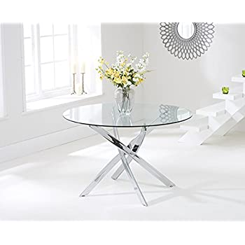 Texas 120cm Glass Round Dining Table Amazoncouk Kitchen Home