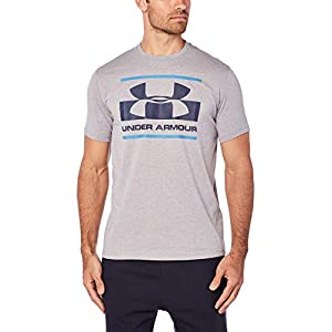 Under Armour, Blocked Sportstyle Logo, Maglietta A Maniche Corte, Uomo, Grigio (Steel Light Heather/Royal/Academy 035), M