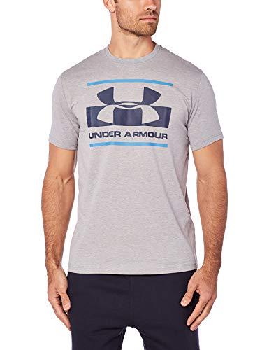 Wesentliche Gerippter V-neck Tee (Under Armour Herren Blocked SPortstyle Logo T-shirt,grau (Steel Light Heather), XXL)