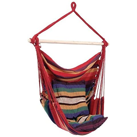 MUTTIY Canvas Hammock Hanging Rope Chair Colorful Striped Swing Sleeping Bed Porch Seat for Outdoor Garden Patio Yard Travel Camping Max to 265 Pounds (Without Cushion) (Red)